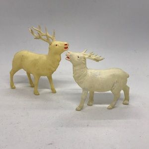 Two Vintage Celluloid Christmas Reindeer